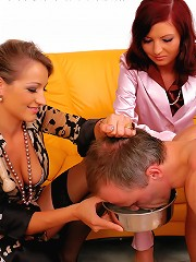 Two Twisted Dom Chicks Humiliate Their Man Slave