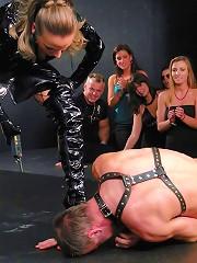 Female Dominatrix Publicly Humiliates Man Slave